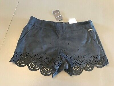 NWT abercrombie kids  girls navy blue velour floral cut out shorts size 10  $49