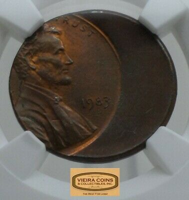 1983 Lincoln Cent Struck 35% OFF CENTER, NGC MINT ERROR MS66 RB - #B15995