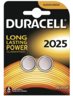 DURACELL 2025 Coin Cell Battery DL2025/ CR2025 , 3V Lithium pack of 2