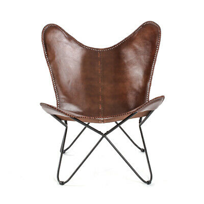 Brand new Industrial Retro Iron Butterfly Chair With Real Leather Seat