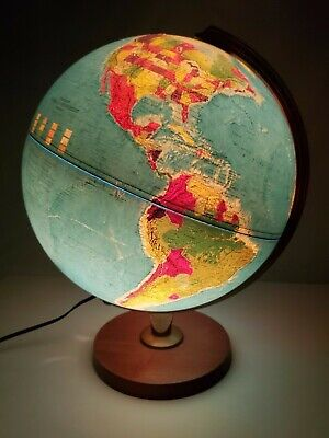 "Vintage Replogle World Horizon Illumintated 12"" relief globe Light up Lamp works"