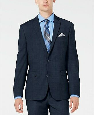 $425 Bar Iii 38 S Men Blue Slim Fit Wool 2 Button Blazer Sport Coat Suit Jacket