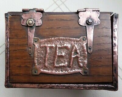 Antique Arts & Crafts style tea caddy box wood and copper