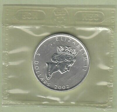 2002 Canadian 1oz Pure Silver Maple Leaf Coin - Sealed
