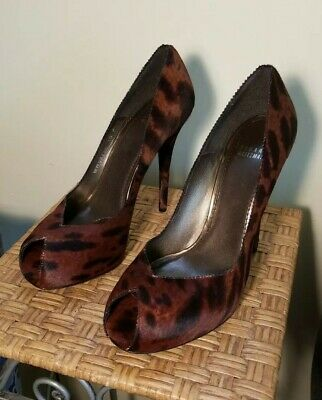 2a6e0df26a0a Stuart Weitzman Brown/Black Animal Print Pony Hair Pumps Peep Toe Heel Sz.  10