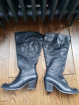 b1f5410c139c9 DUO BLACK LEATHER knee high wide calf boots uk size 5 - £40.00 ...