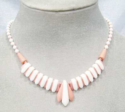 True Vintage Art Deco Pink & White Czech Milk Glass Unique Reversible Necklace