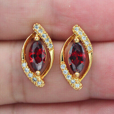 18K Yellow Gold Filled Women Red Ruby Topaz Marquise Stud Earrings