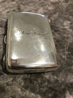 Antique WJM & Co Shaped 65gm Inscribed Solid Silver Cigarette Case James Gibson