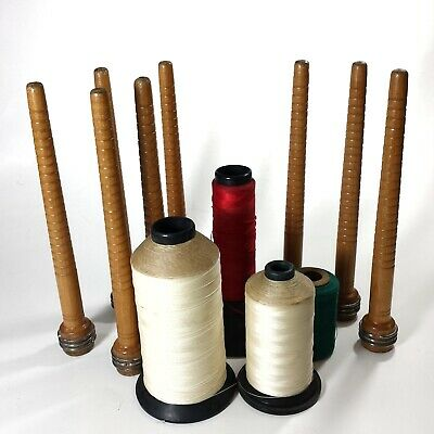 Lot of 8 vtg wooden industrial textile bobbins & 4 spools of thread 12 pcs total
