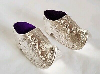 Antique continental silver novelty Pin cushionsFashioned as Pair of Dutch Clogs