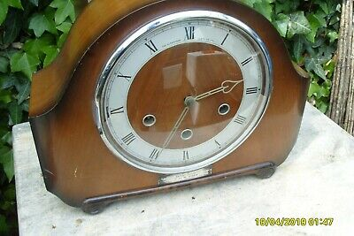 mantel  clock B. R  EASTERN  45 YEARS  SERVICE  WORKING  WESTMINSTER SMITHS