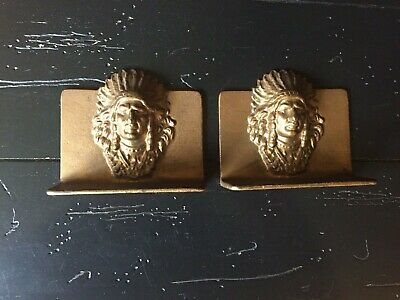 Lot Of 2 Vintage Antique Cast Iron/Bronze Indian Chief Native American Bookends