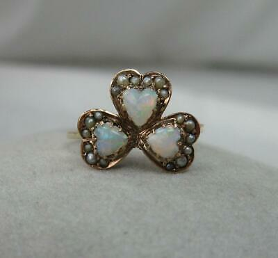 Opal Heart Ring Victorian Shamrock Pearl Gold Wedding Engagement Edwardian