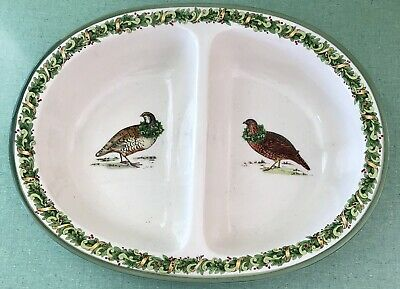 Certified International Keridesign DIVIDED SERVING DISH BOWL Grouse Fowl HOLIDAY