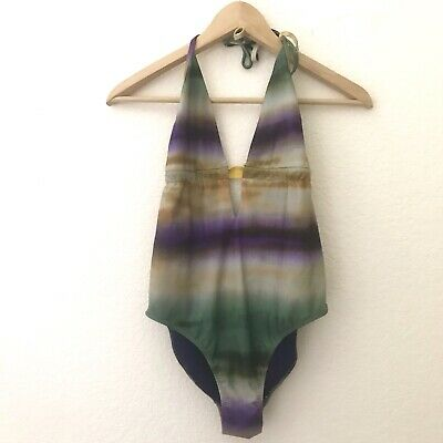 1f631953942 Zara Womens Swimsuit MEDIUM Purple Green Yellow Ombre Keyhole Halter One  Piece