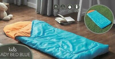 Kids Ready Bed - Roll Out Sleeping Bag with Built in Foam Mat + carry bag. BLUE