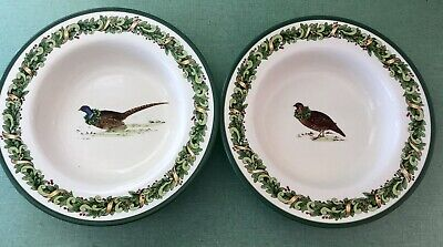 TWO Certified International Keridesign SOUP BOWLS HOLIDAY Grouse Pheasant