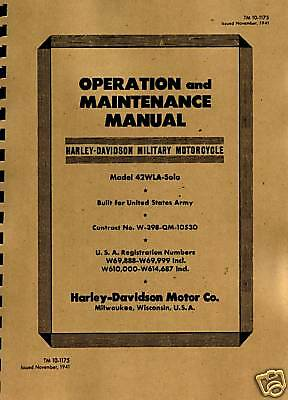 TM10-1175 ~ WWII Harley ~ WLA ~ Operation & Maintenance Manual ~ wwii ~ Reprnt
