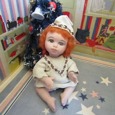 Artisan PORCELAIN IRISH ELF BABY DOLL Dollhouse Handmade Artist BISQUE RED HAIR