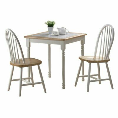 Boraam Farmhouse Tile Top Square 3 Piece Small Dinette Set