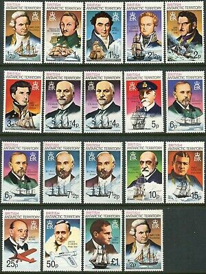 BR. ANTARCTIC BAT Sc#45-59 1975-80 Explorers & Ships Complete Set OG Mint NH