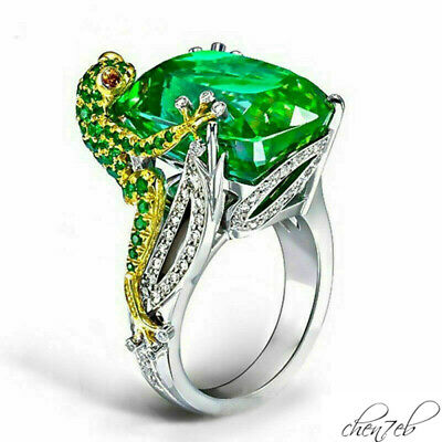 Frog Engagement Ring 925 Women Jewelry Size 6-10 Emerald 6.8CT Wedding Silver
