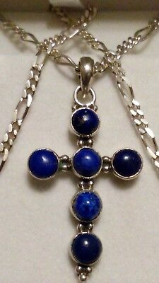 """GORGEOUS Sterling Silver LAPIS LAZULI CROSS Pendant 23"""" Figaro Chain Necklace!!"""