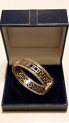 Timeless Classic 9Ct 375 Yellow Gold Greek Key Oval Hinged Bracelet In Gift Box*