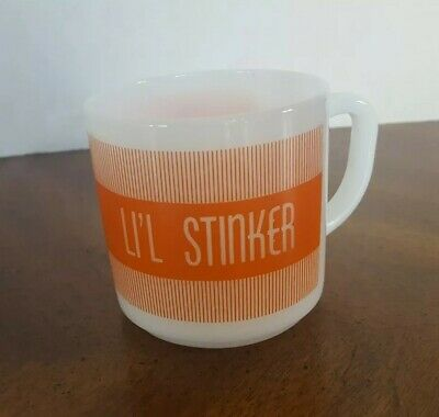 Vintage Federal Milk Glass Coffee Mug LI'L STINKER