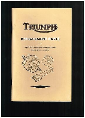 1952 Triumph Replacement Parts Catalog Speed Twin Thunderbird Tiger 100 Trophy