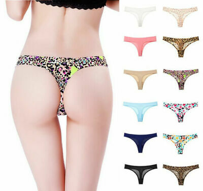 Women Panties Sexy Seamless Solid Color Nylon Thongs G-string Underwear Briefs