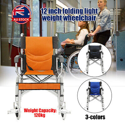 "Portable 16"" Lightweight Folding Wheelchair Armrest Park Brakes Mobility Aid O"