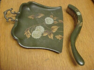 Matching Antique Art Nouveau Brass Handled Crumb Tray With Curved Wooden Brush