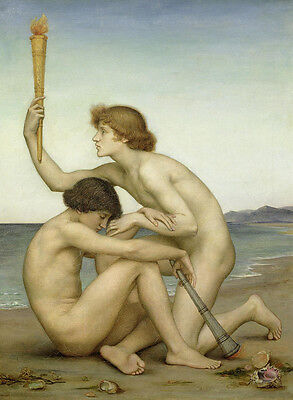 Huge Oil painting two nude strong men by the ocean handpainted