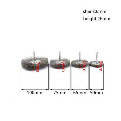 4Pcs 50/65/75/100*0.15mm Crimped Stainless Steel Wire Wheel Polishing Brushes