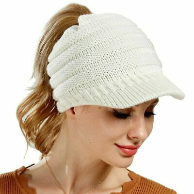 Women's Ponytail Beanie Skull Cap Winter Soft Stretch Cable Knit High Bun Hat TE