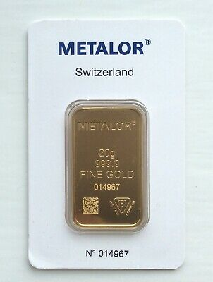 Metalor 20g minted gold bar - sealed in certified assay packet - Free P&P-Lot A