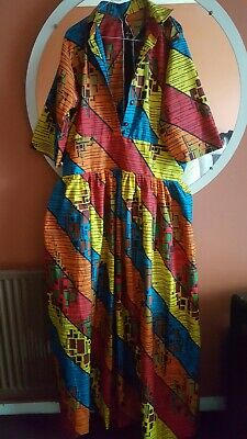 African Women's Multicolored Ankara Maxi Dress With Scarf-----SIZE 22/24