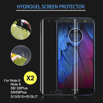 2X Samsung Galaxy S8 S9 S10+ Lit Note8 9 Full Coverage HYDROGEL Screen Protector
