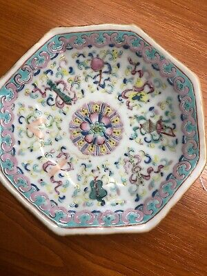 Qing 19th C Floral Footed Dish With Mark To Base
