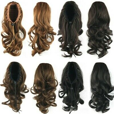 Women Girl Wrap Around Ponytail Clip in Hair Extensions Wig Wavy Curly Ponytail