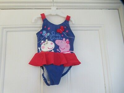 18-24m: Cute blue PEPPA PIG swimsuit/swimming costume: Good condition
