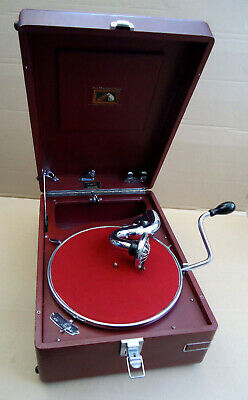 SUPERB HMV 102 GRAMOPHONE IN RED, SERVICED AND RESTORED FROM 1940s ORIGINAL