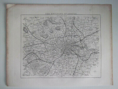 THE ENVIRONS OF LONDON A Vintage Antique Map From 1848 Westminster Southwark