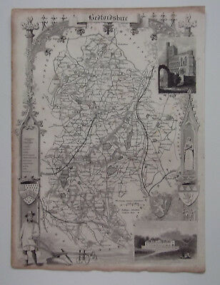 BEDFORDSHIRE A Vintage Antique Map From 1848 BEDFORD SHEFFORD LUTON DUNSTABLE