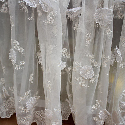 """Lily 100/% Organza Both Sized Embroidered Lace Fabric 52/""""-53/"""""""