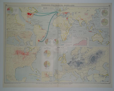 The World's Commodities MAIZE and RYE Vintage 1928 Map