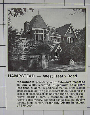 HAMPSTEAD West Heath Road House For Sale 5 Bed 4 Bathrooms £75,000 1976 Advert
