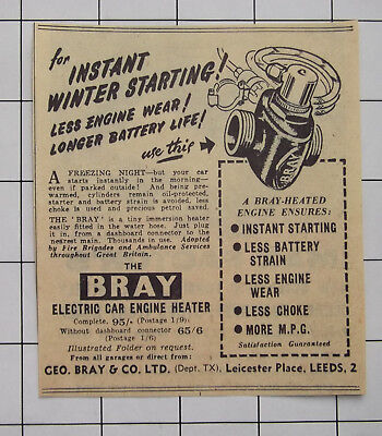 Geo Bray & Co Ltd Leeds The Bray Electric Car Engine Heater 1956 Advert Clipping
